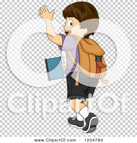 Cartoon of a Waving Brunette White School Boy Walking Away.