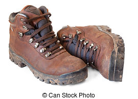 Stock Photos of Muddy Hiking Boots.