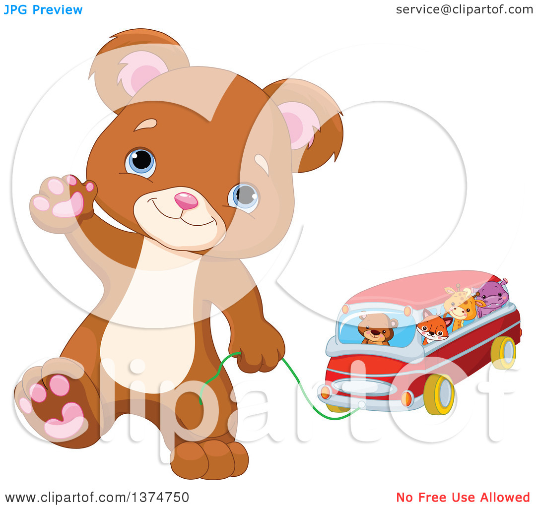 Clipart of a Cute Bear Cub Walking Upright, Waving and Pulling a.
