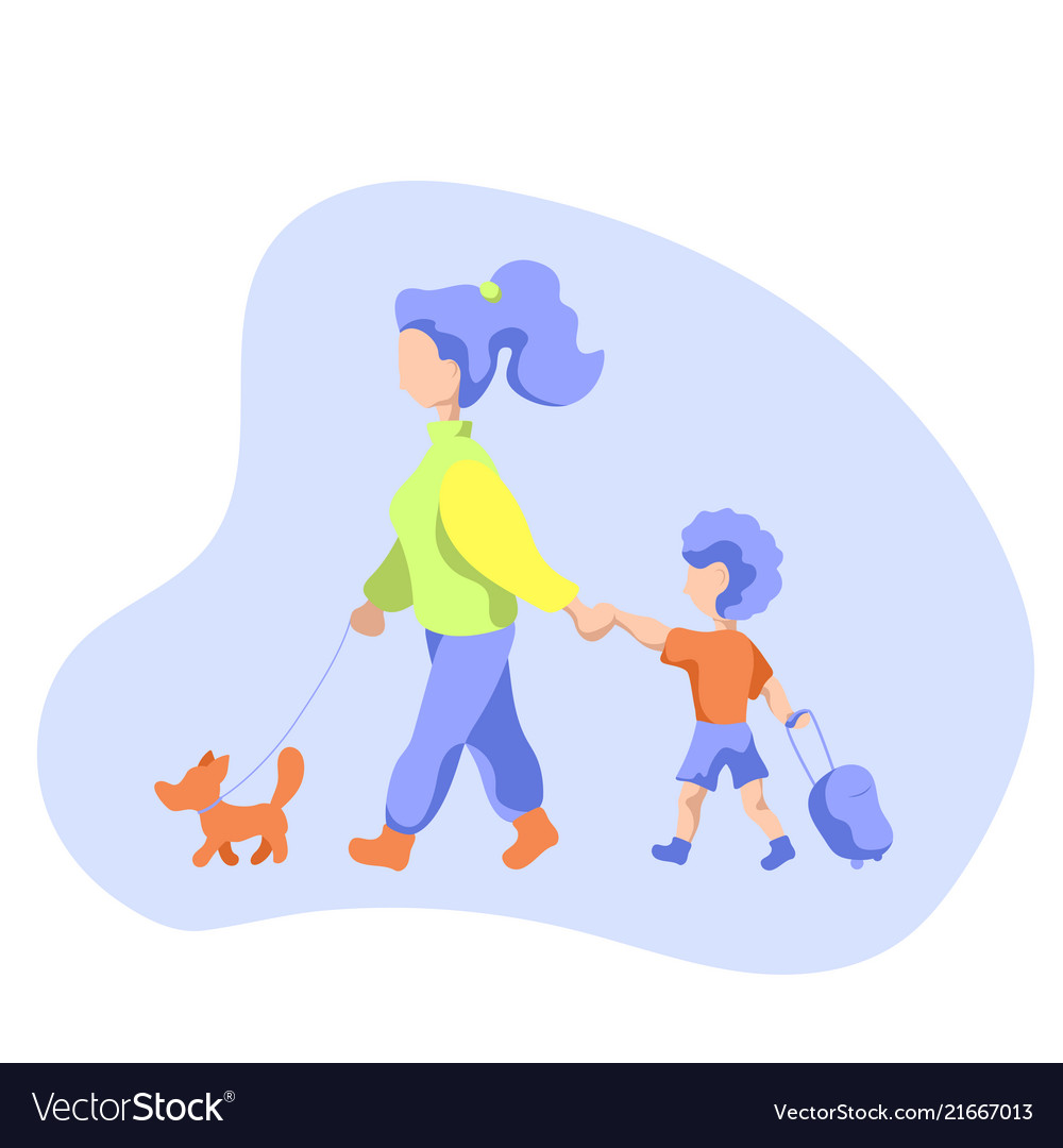 Mother with child and dog on walk flat.
