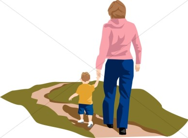 Mother and Child Walking.