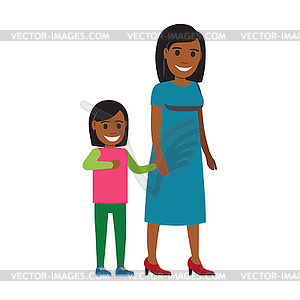 Happy Mother Walking with Daughter Flat.