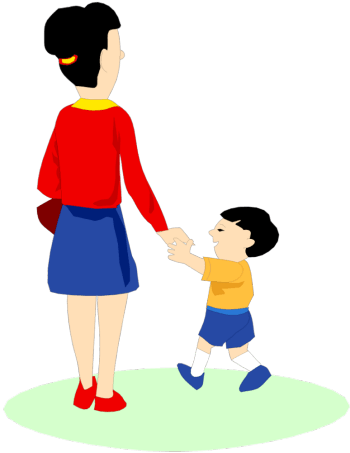 Mother and child walking clipart.