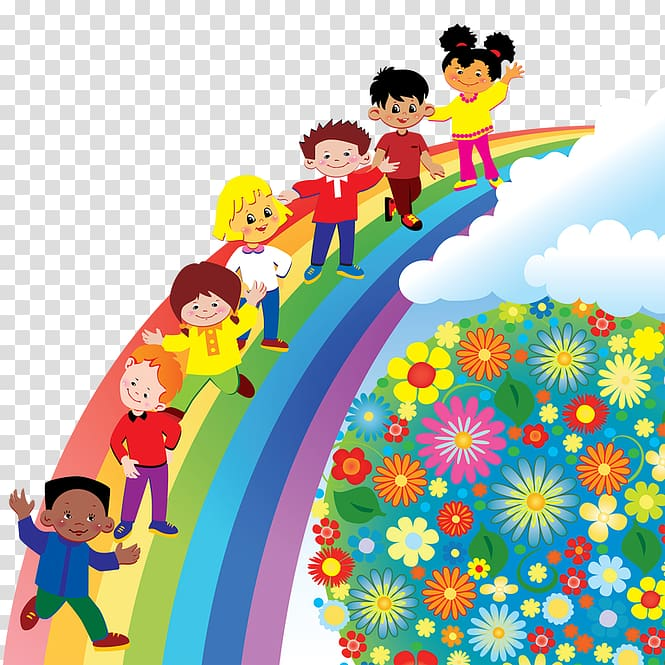 Group of children\'s walking on rainbow illustration, Pre.