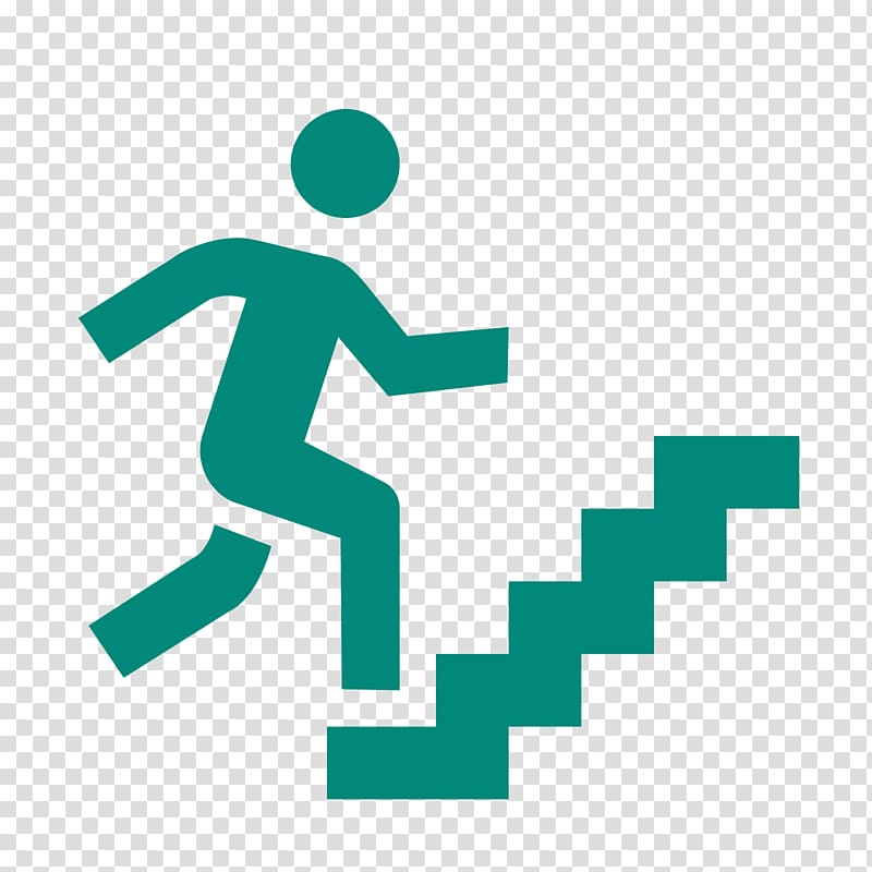 Teal walking on stairs sign art, Stairs Computer Icons.