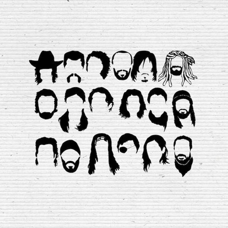 The Walking Dead Faces SVG Cut File, Digital Clipart, Editable Vector.