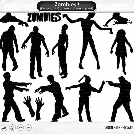 Halloween ClipArt, Zombie Hand Silhouettes, Walking Dead Zombies.