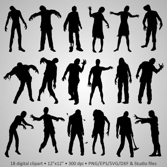 Buy 2 Get 1 Free! Digital Clipart Zombie Silhouettes, walking dead.