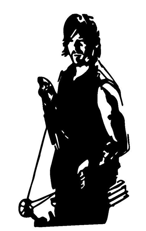 Zombie Walking Dead Daryl Dixon V3, Silver, 6 Inch, Die Cut Vinyl Decal,  For Windows, Cars, Trucks, Toolbox, Laptops, Macbook.