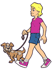 Clipart walking dog.