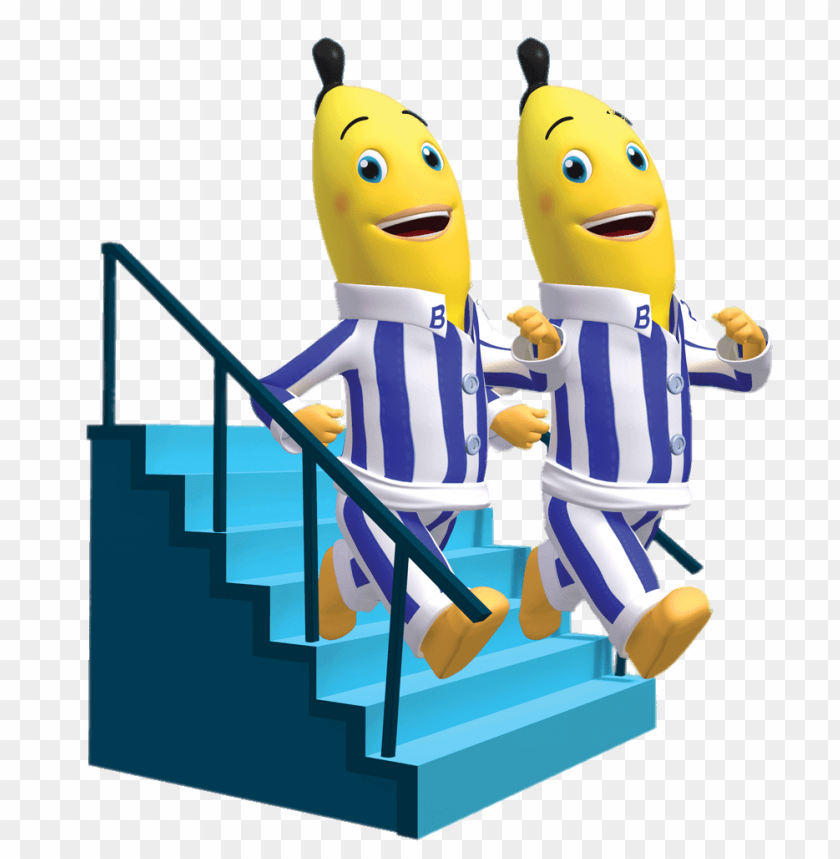 Download bananas in pyjamas walking down the stairs clipart.