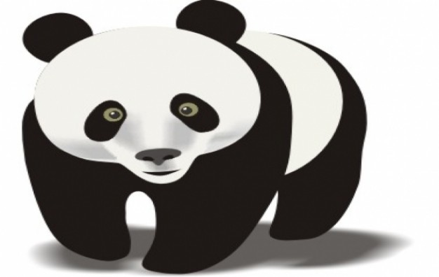 Panda walking clipart in front view.