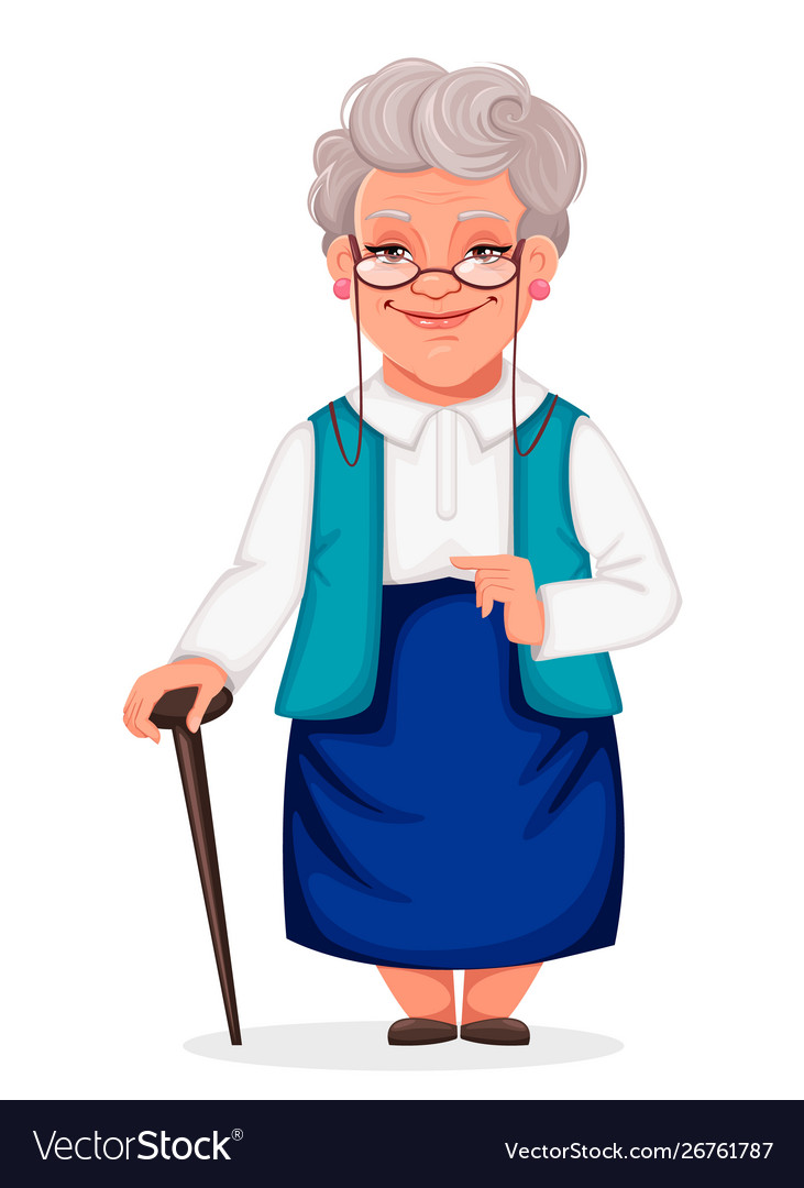 Cheerful grandmother stands with walking cane.