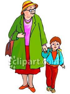 A Little Boy Walking To School with His Grandma Royalty Free.