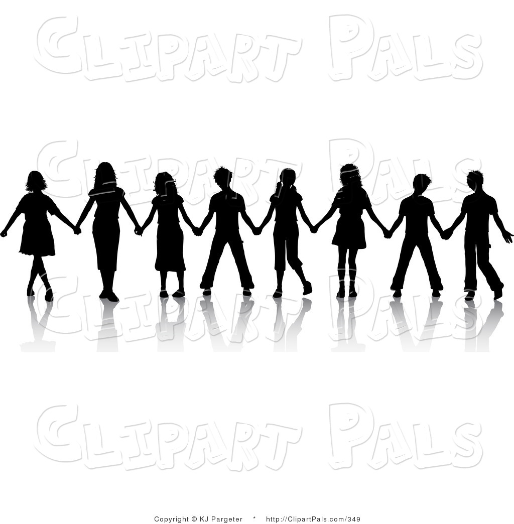 Free Silhouette Clipart Group Of Women Friends Holding Hands.