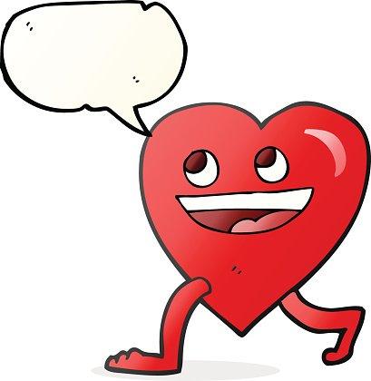 speech bubble cartoon walking heart Clipart Image.