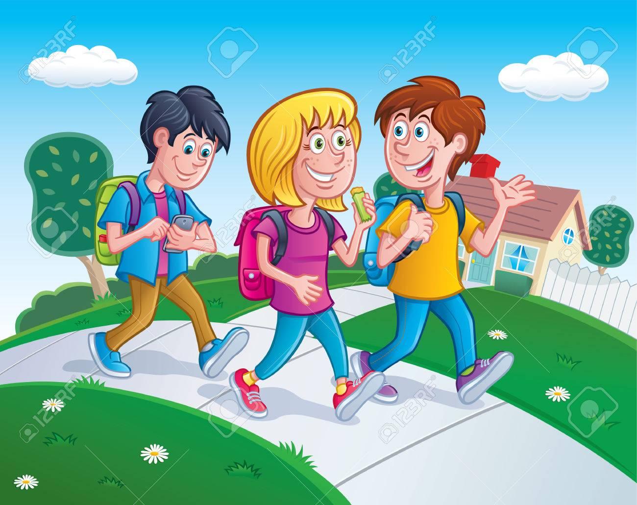 Kids Walking Home From School.