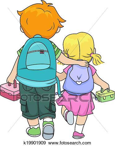 Siblings Walking Home Clip Art.