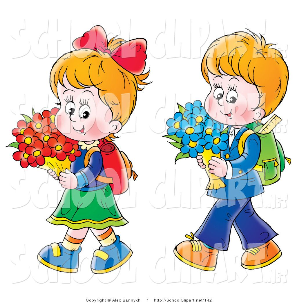 Clip Art of a Little Twin Boy and Girl Walking Home from.