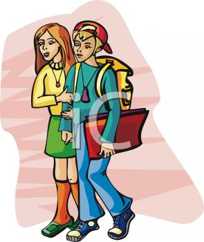 Clip Art Picture of School Kids Walking Home.