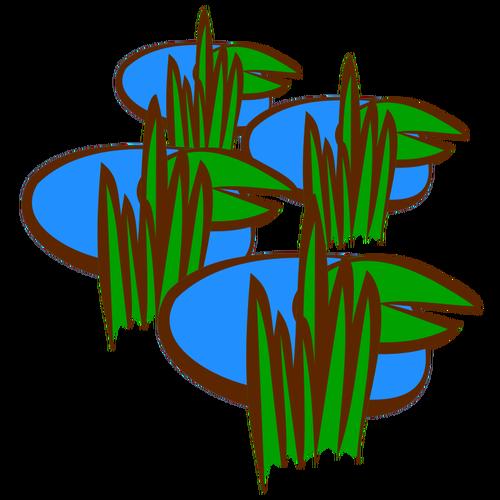 Swamp in vector drawing.