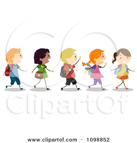 Clipart Excited Diverse School Kids Walking In Line.