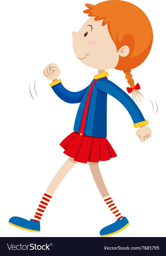 Little girl walking alone.