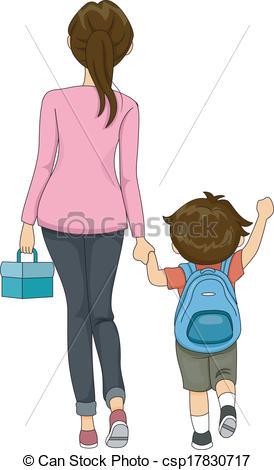 Vector Clip Art of Walking to School csp17830717.