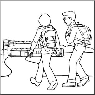 Kids Walking to School Clip Art (B&W).