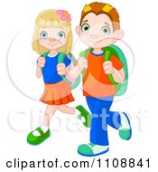 Clipart of a Cartoon Puppy Dog Following a and Caucasian School.