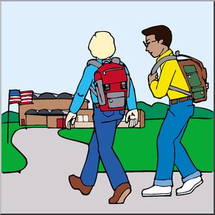 Kids Walking to School Clip Art (Color).