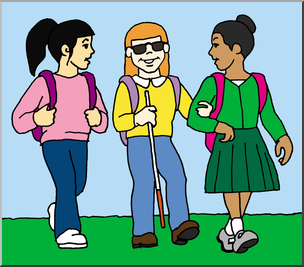 Blind Child and Friends Walking to School Clip Art (Color).