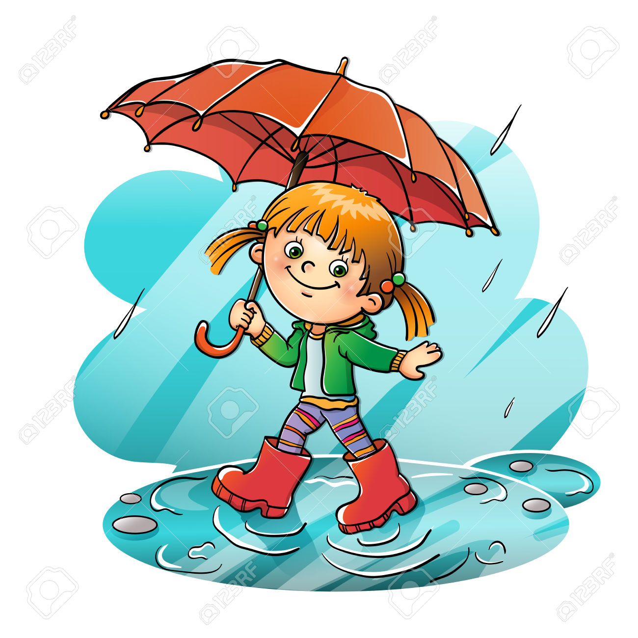 Happy girl walking in the rain » Clipart Station.