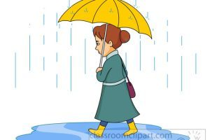 Woman walking in rain holding umbrella clipart » Clipart Portal.
