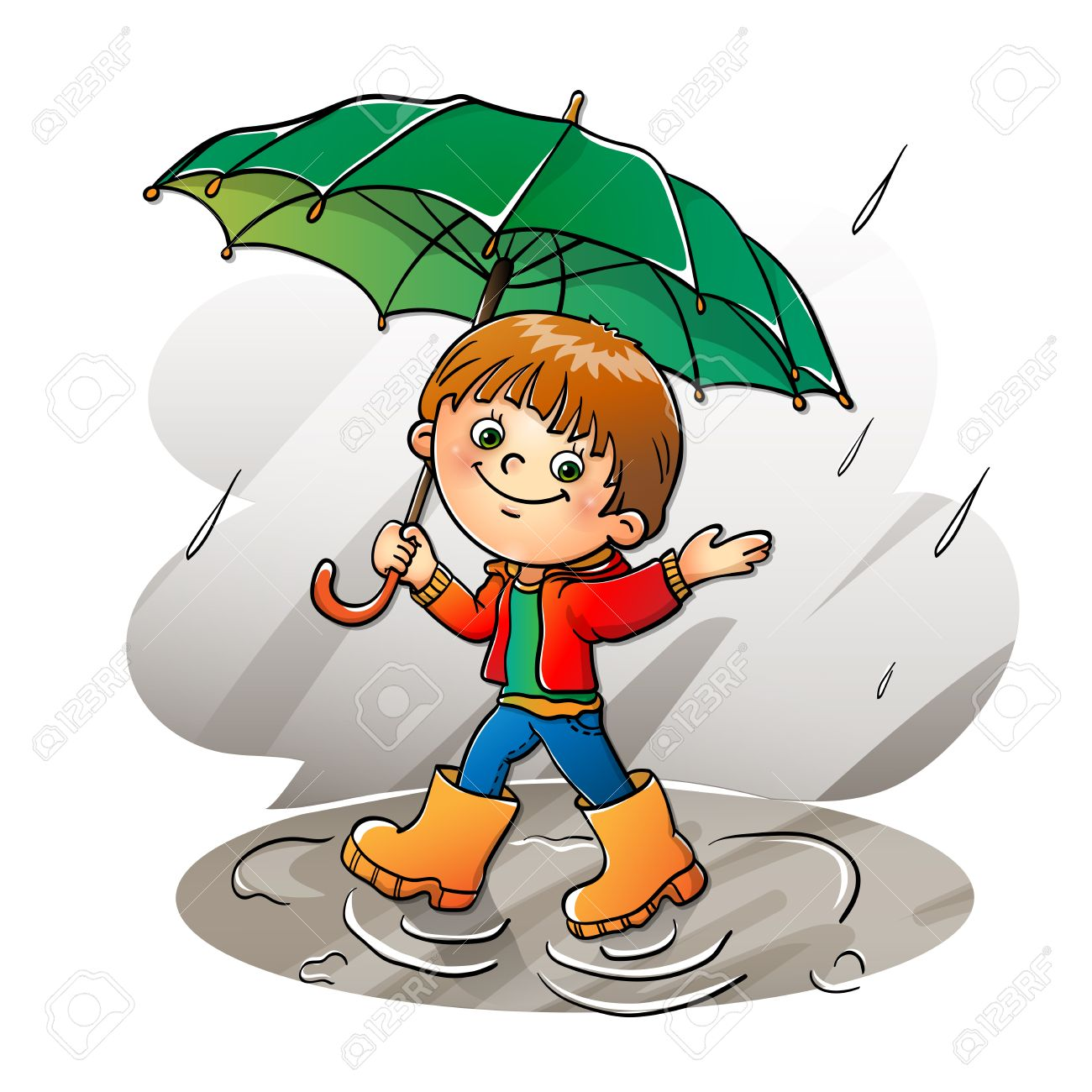 Joyful boy walking in the rain » Clipart Station.