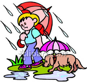 A Boy Walking His Dog In the Rain with Umbrellas.