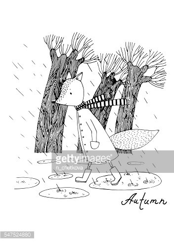 Sad fox walking in the rain. Clipart Image.