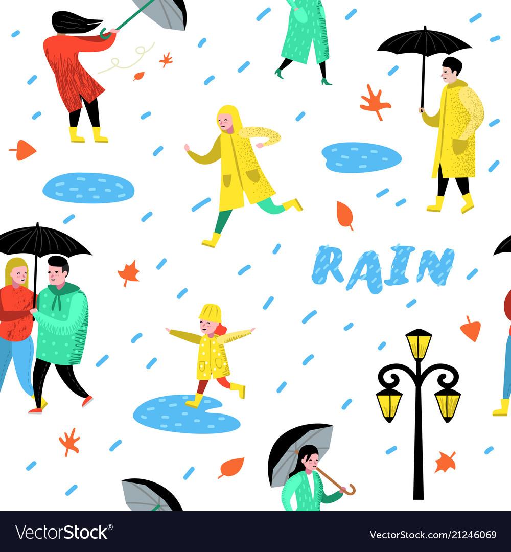 Characters people walking in rain seamless pattern.