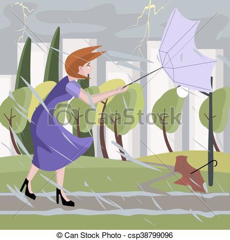 woman walking at summer storm.
