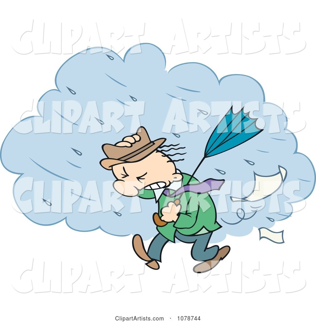 Toon Guy Walking Through A Strong Rain Storm Clipart by.