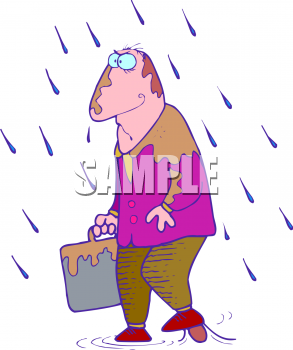 Clip Art Picture of an Angry Man Walking in a Storm with Bad.