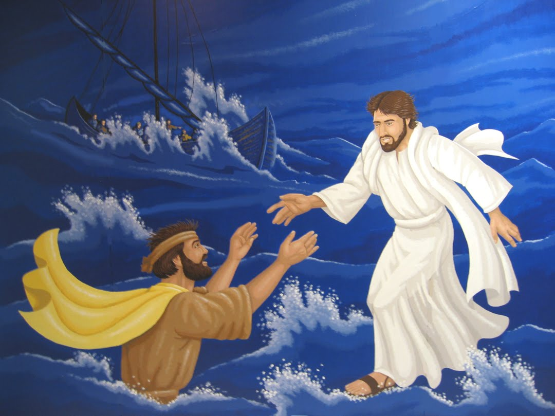Jesus walking on water and helping Peter in the storm.
