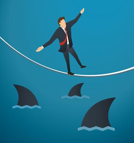 illustration of a businessman walking on rope with sharks.