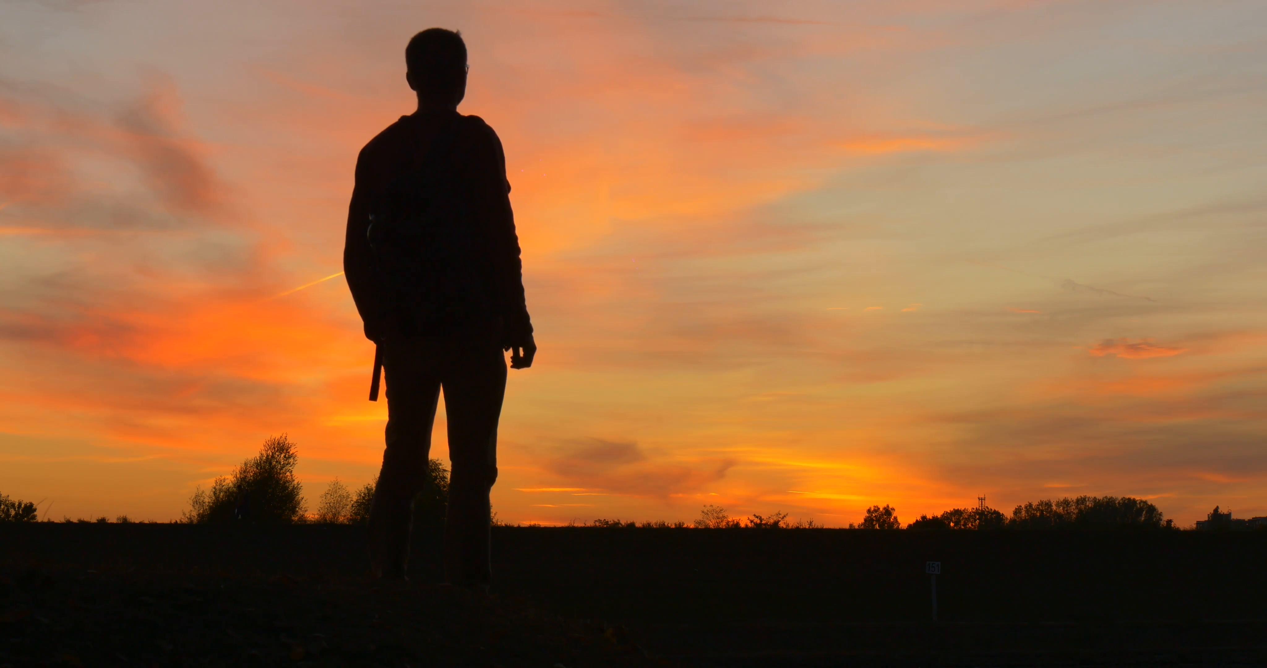 Sunset Silhouette Man.