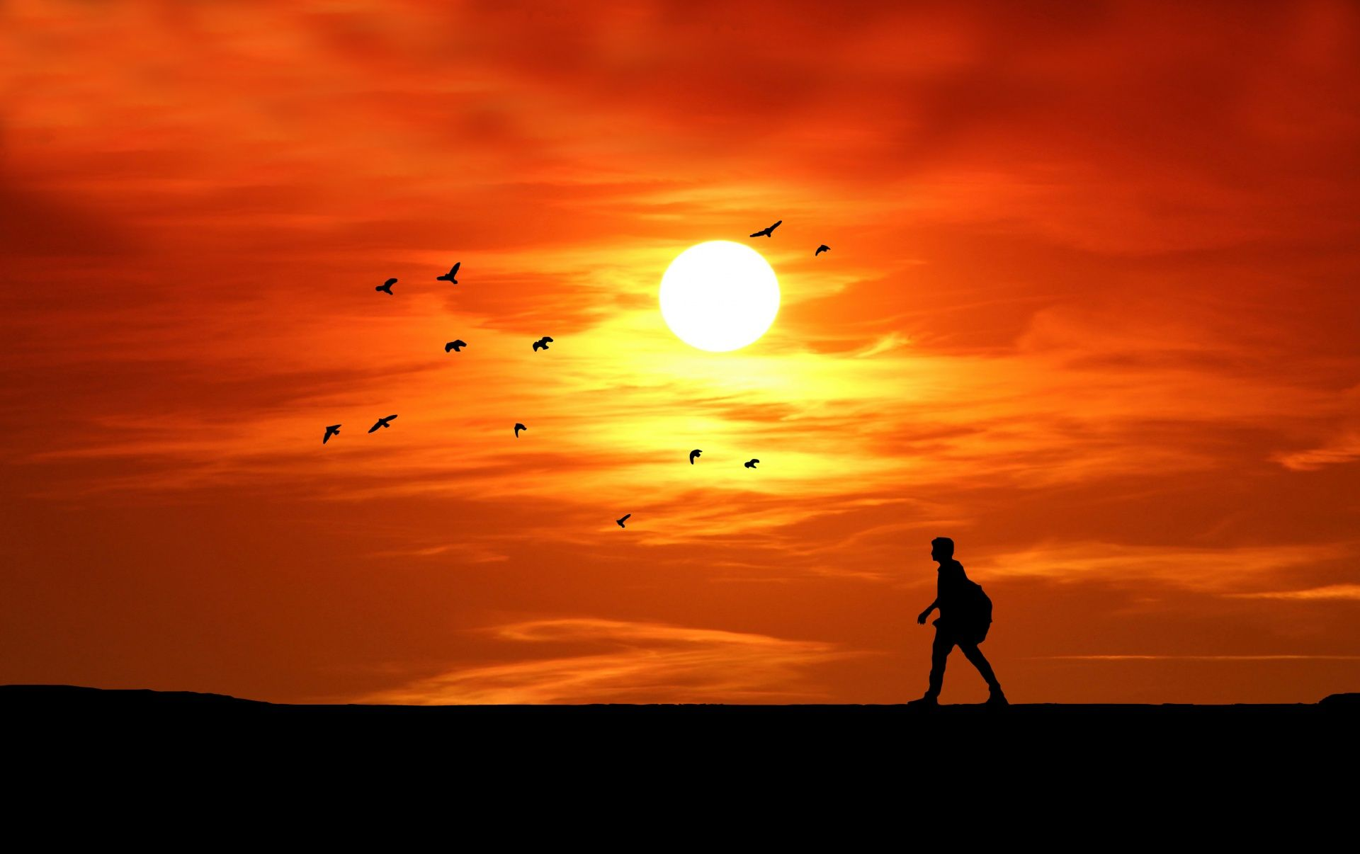 Sunset Silhouette Man Walking in 2019.