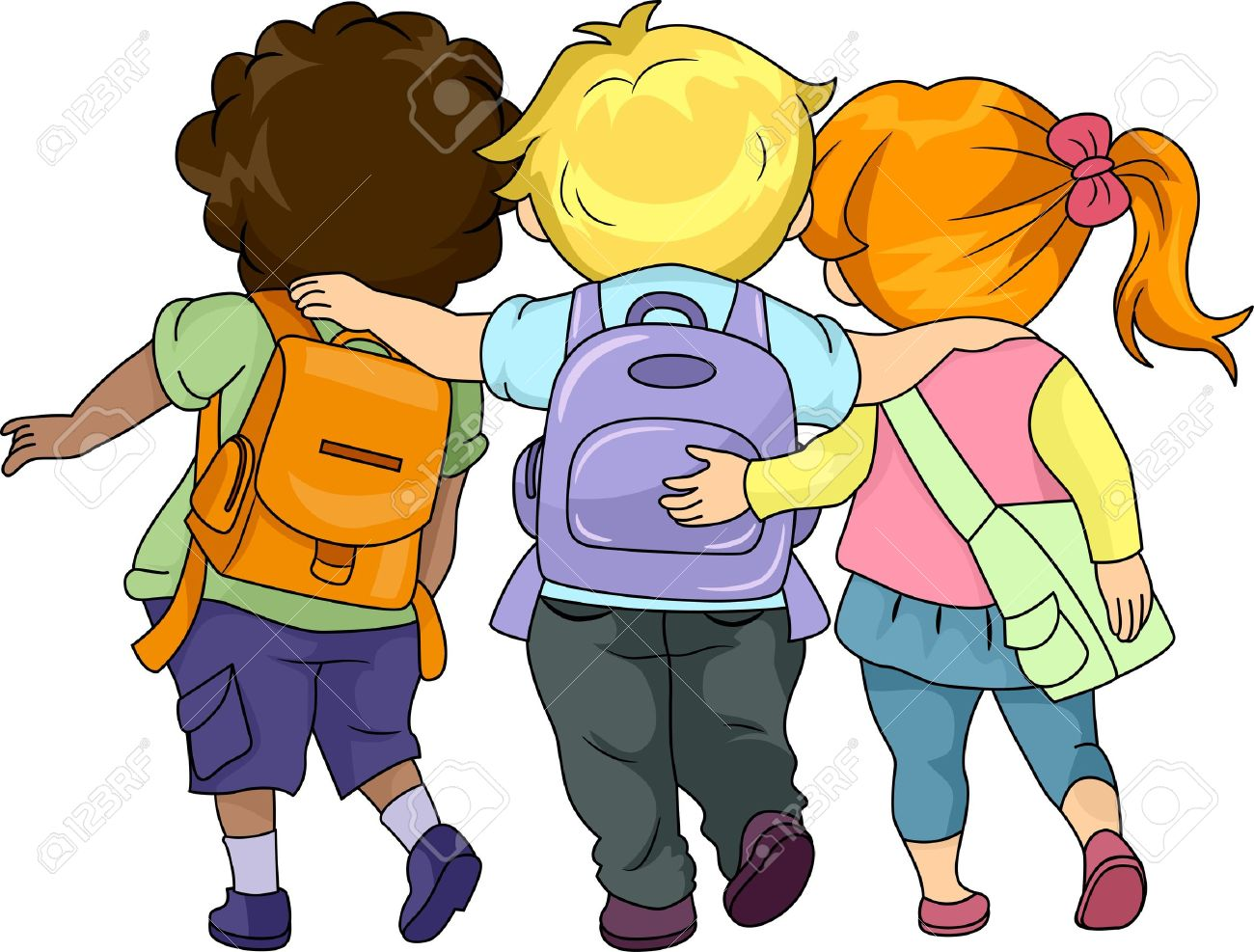 Illustration Of Kids Walking To School Together Stock Photo.