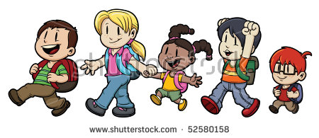Kids walking and talking back to school. Vector clip art.