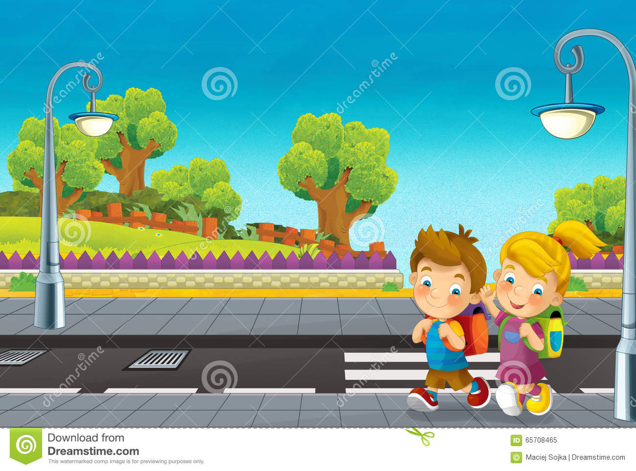 Walking On Road Clipart.