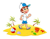 Boy Walking Sand Beach Stock Illustrations.