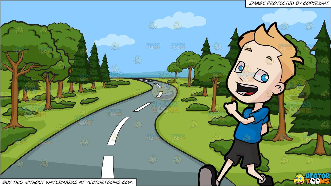 A Boy Walking In Happiness and A Winding Country Road Background.